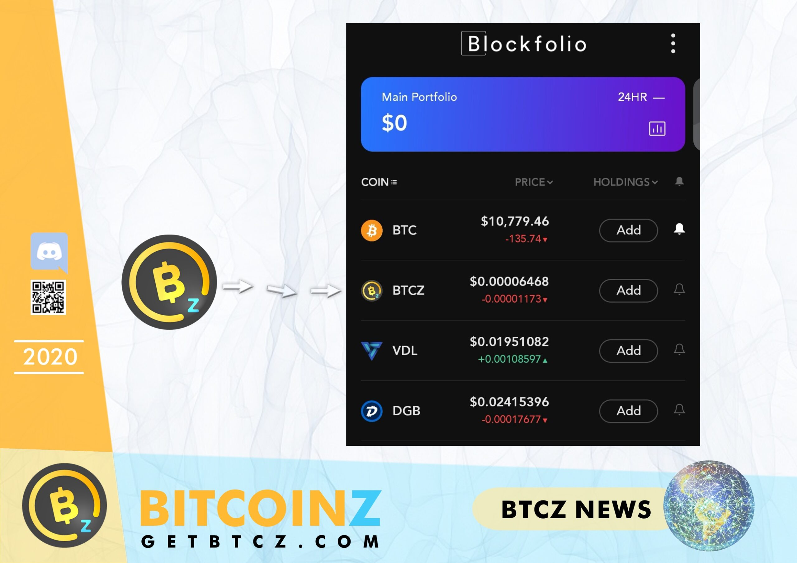 BITCOINZ logo is fixed in Blockfolio!