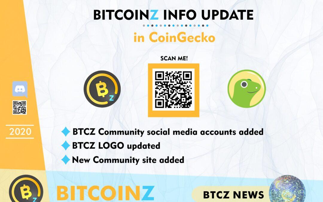 BITCOINZ Update in CoinGecko!