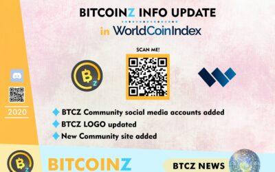 BITCOINZ Update in the WorldCoinIndex