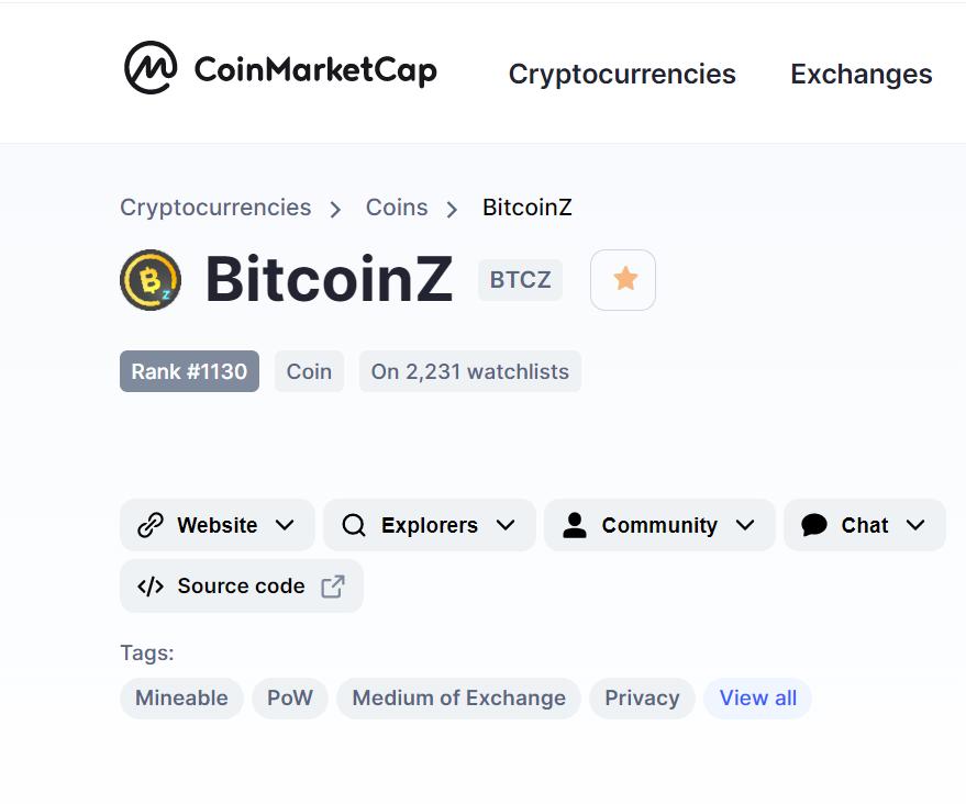 CoinMarketCap tags BTCZ