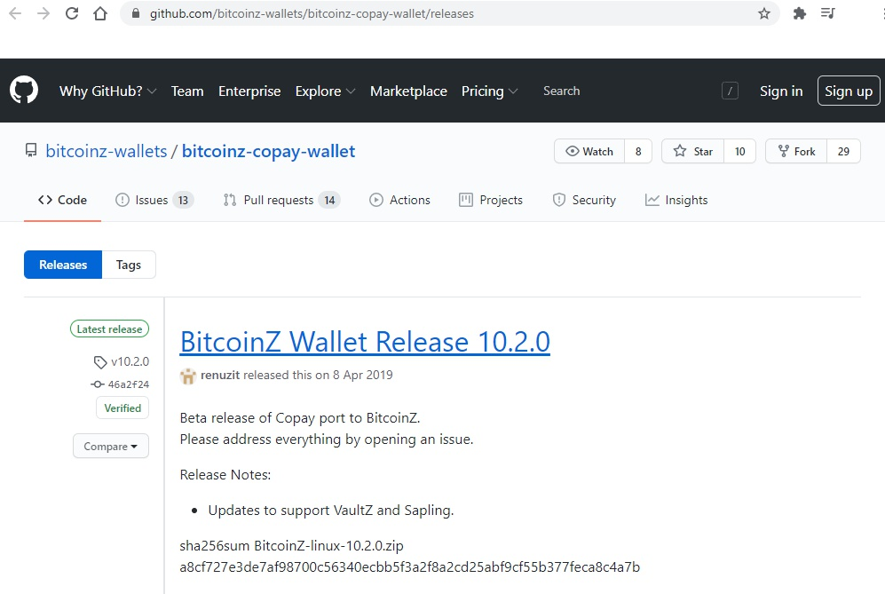 BitcoinZ Github