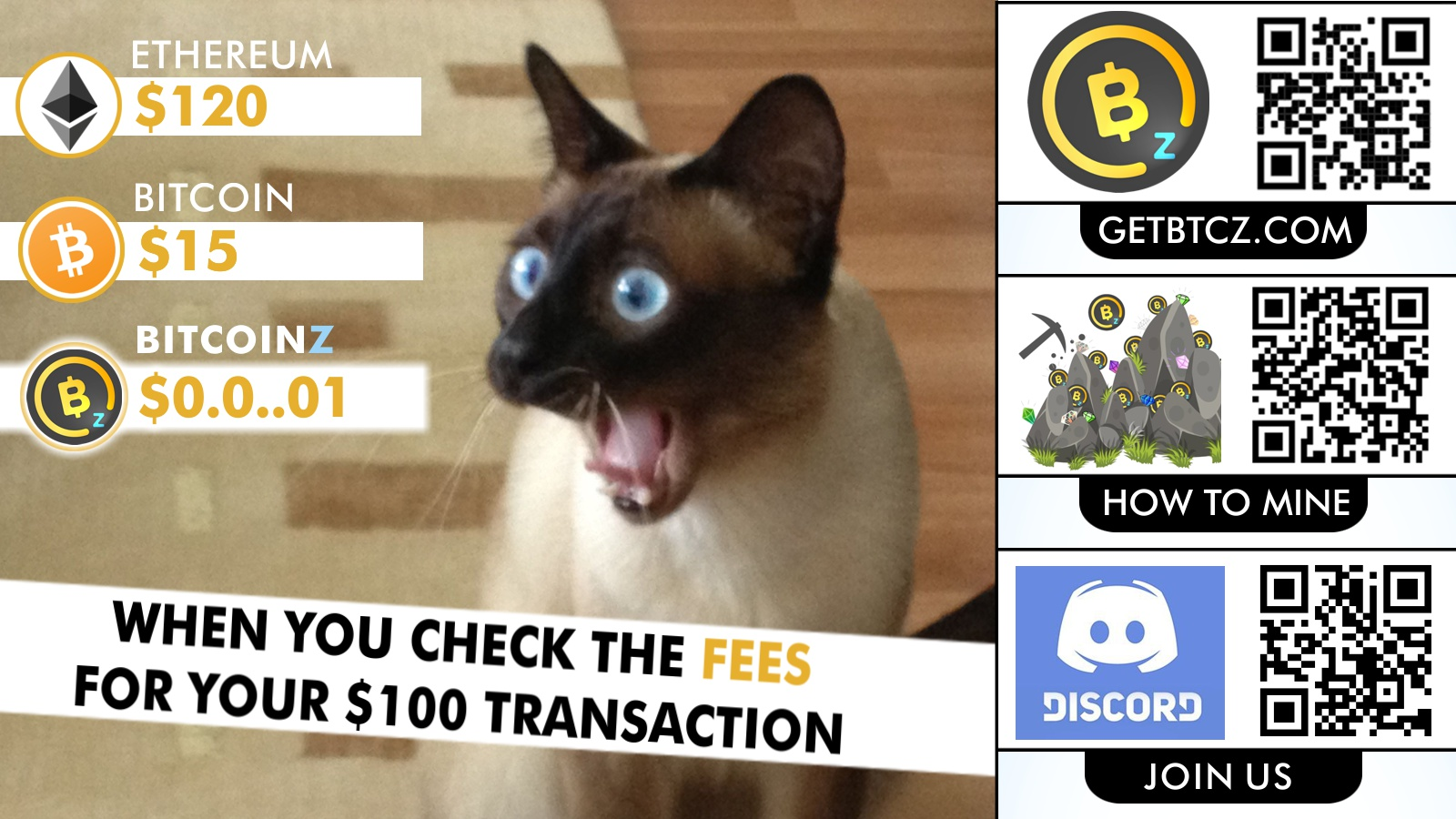 BITCOINZ has the lowest fees ever